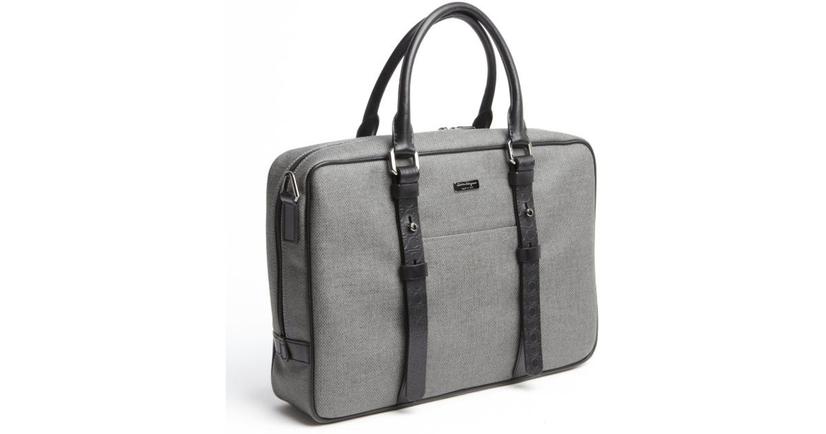 c866628bf51a Lyst - Ferragamo Grey Coated Canvas Convertible Travel Bag in Gray for Men
