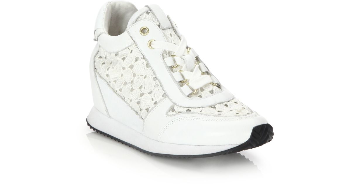 c9a256e35b1 Lyst - Ash Dream Lace   Croc-embossed Leather Wedge Sneakers in White for  Men
