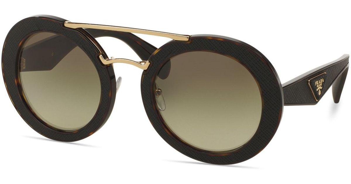 fca56e0b21e2 Lyst - Prada Ornate Saffiano Leather Sunglasses