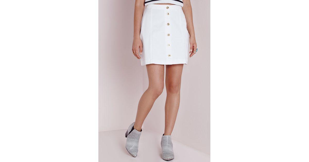 missguided button through denim skirt white in white