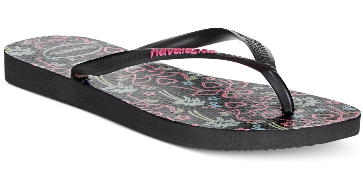 a6d0adec18516c Lyst - Havaianas Women s Slim Flamingo Flip Flops in Black