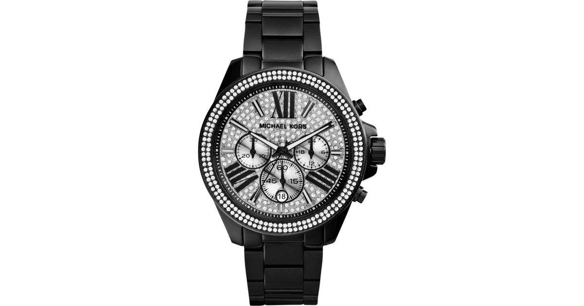 f8f9fe093 ... lyst michael kors women s chronograph wren black ion plated stainless  steel bracelet watch 42mm mk6059 ...