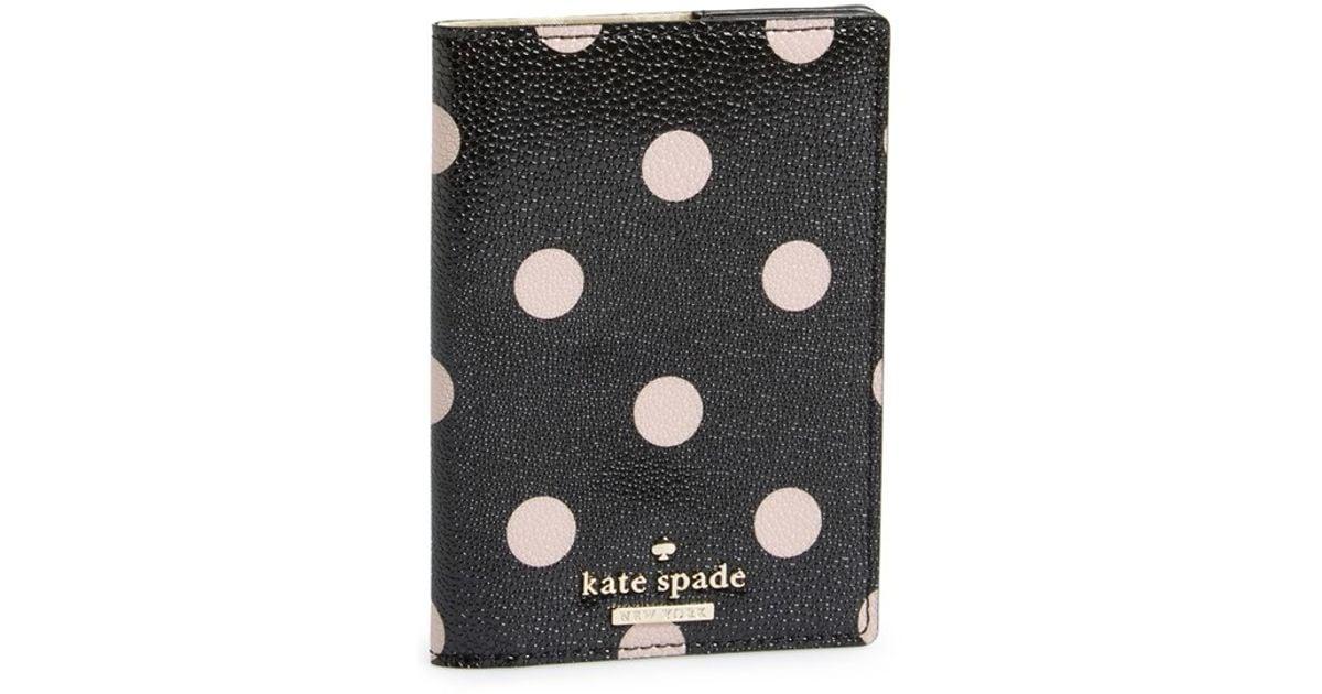 a13c01a7d3a9 Kate Spade 'cedar Street Dot' Passport Holder in Black - Lyst