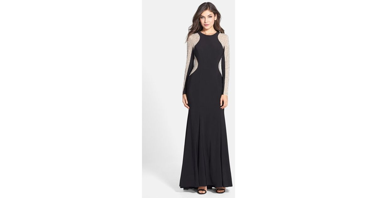 Xscape Beaded Illusion Sleeve Jersey Mermaid Gown in Black - Lyst