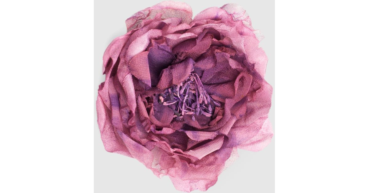 Lyst gucci flower pin in silk and cotton in pink mightylinksfo