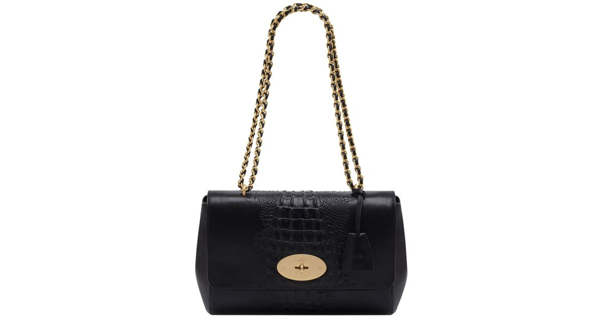d6072406e09e Mulberry Medium Lily Croc Nappa Leather Bag in Black - Lyst