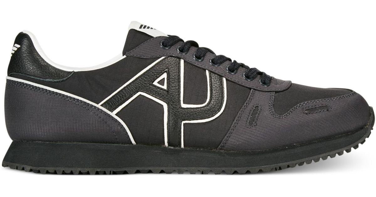 armani jeans trainer sneakers in black for men lyst. Black Bedroom Furniture Sets. Home Design Ideas