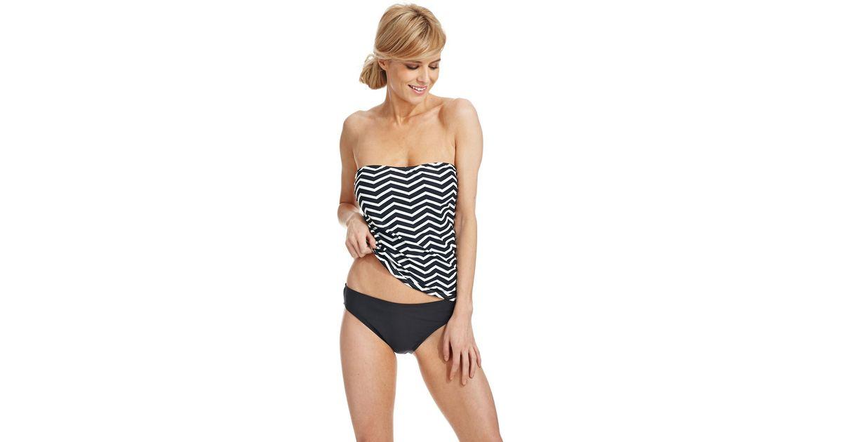 938cb5e8426 Ivanka Trump Chevron Bandeau Tankini Swim Top in Black - Lyst