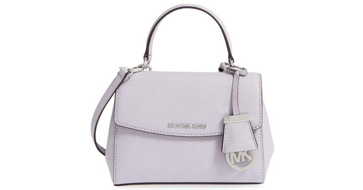7c6e5a82b3ec Lyst - MICHAEL Michael Kors  extra Small Ava  Leather Crossbody Bag in  Purple