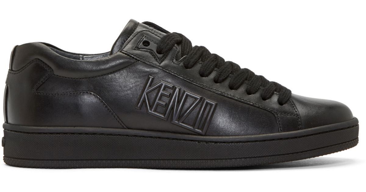 Kenzo Black Leather Tenniz Low-top Sneakers in Black for ...