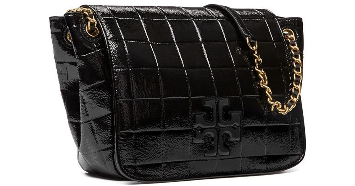 4504f3c941a ... order tory burch marion quilted patent small flap shoulder bag in black  lyst e7c54 426bd