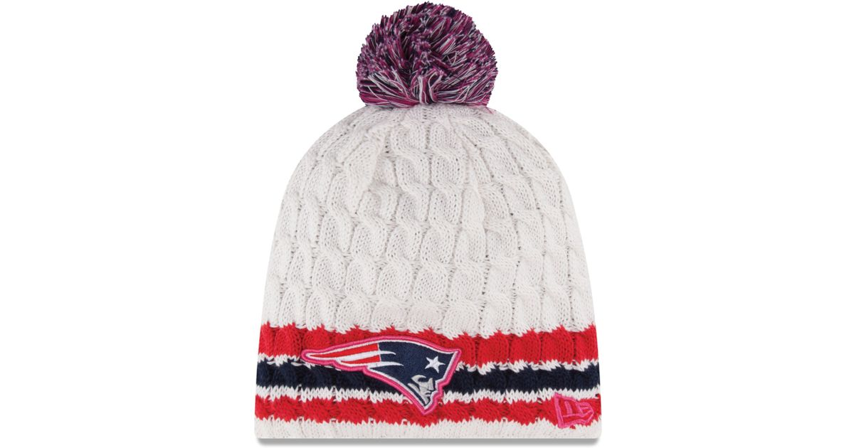 fdc99e57a23 Lyst - KTZ Womens New England Patriots Breast Cancer Awareness Knit Hat in  White