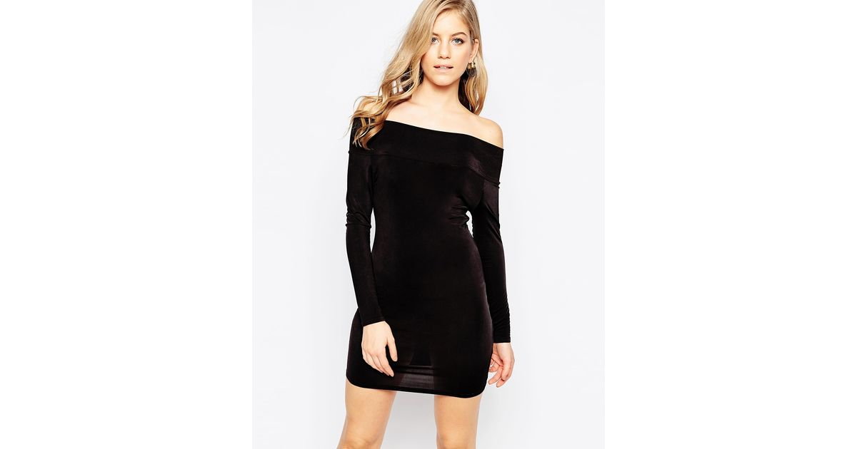 Lyst Love Off Shoulder Bodycon Dress With Long Sleeves In Black