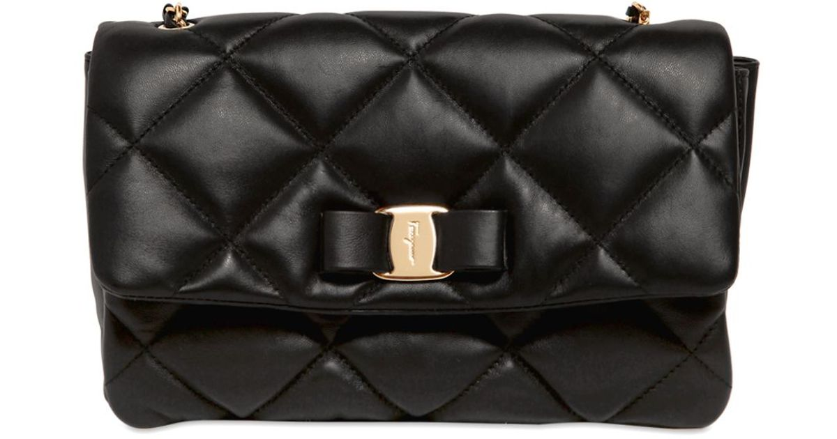 db24faab13 Lyst - Ferragamo Gelly Quilted Nappa Leather Shoulder Bag in Black