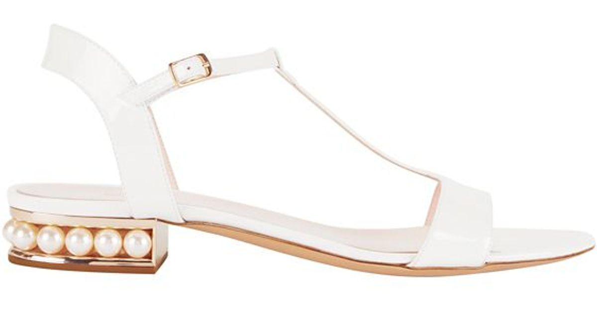 Lyst - Nicholas Kirkwood Pearl Flat Heel Patent Leather Sandal  White in  White