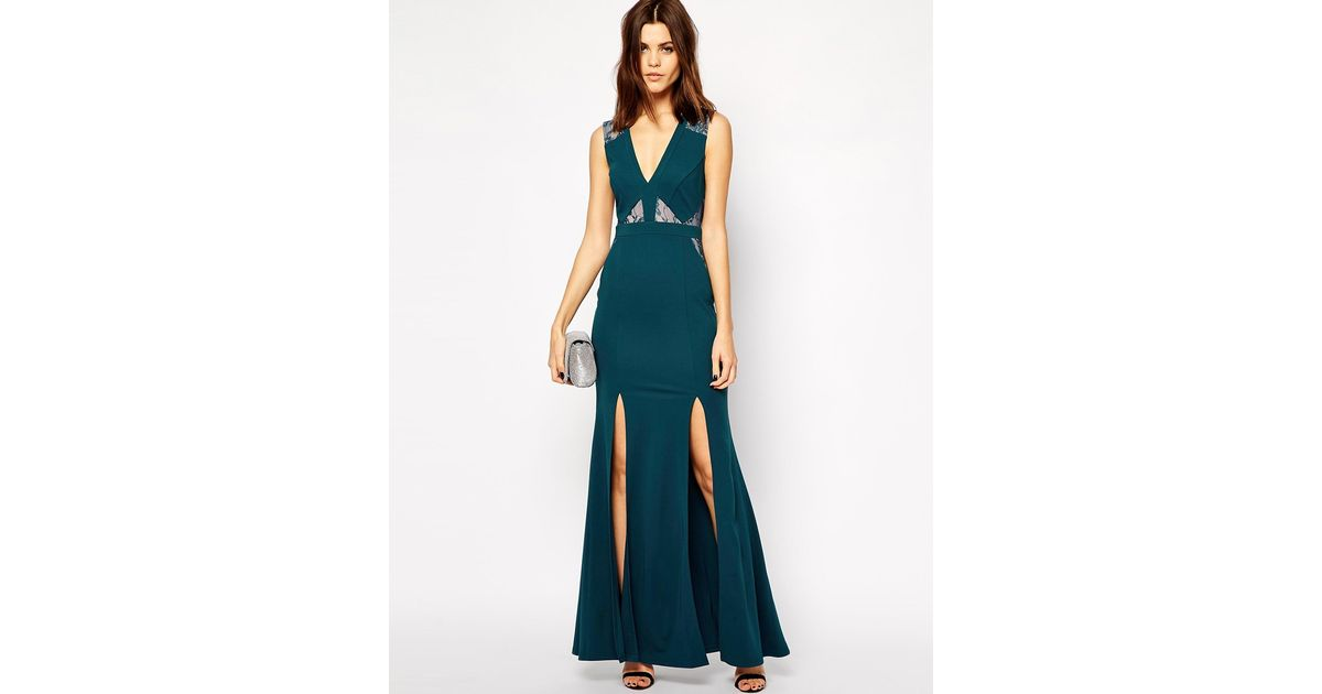 Lyst Lipsy Michelle Keegan Loves Maxi Dress With Lace Inserts And