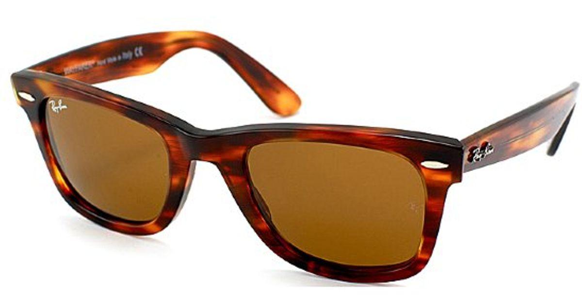 0ad258bdd64 ... free shipping lyst ray ban ray ban rb2140 original wayfarer 954 light  tortoise sunglasses brown lens