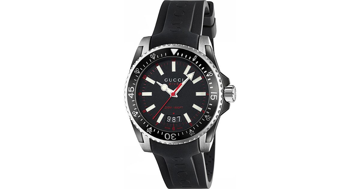 55a364e3967 Lyst - Gucci Ya136303 Dive Stainless Steel And Rubber Watch in Black
