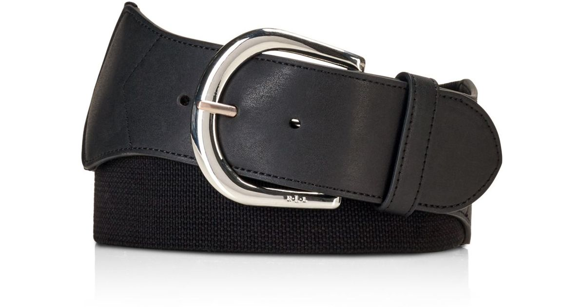 pink pony wide stretch belt in black lyst