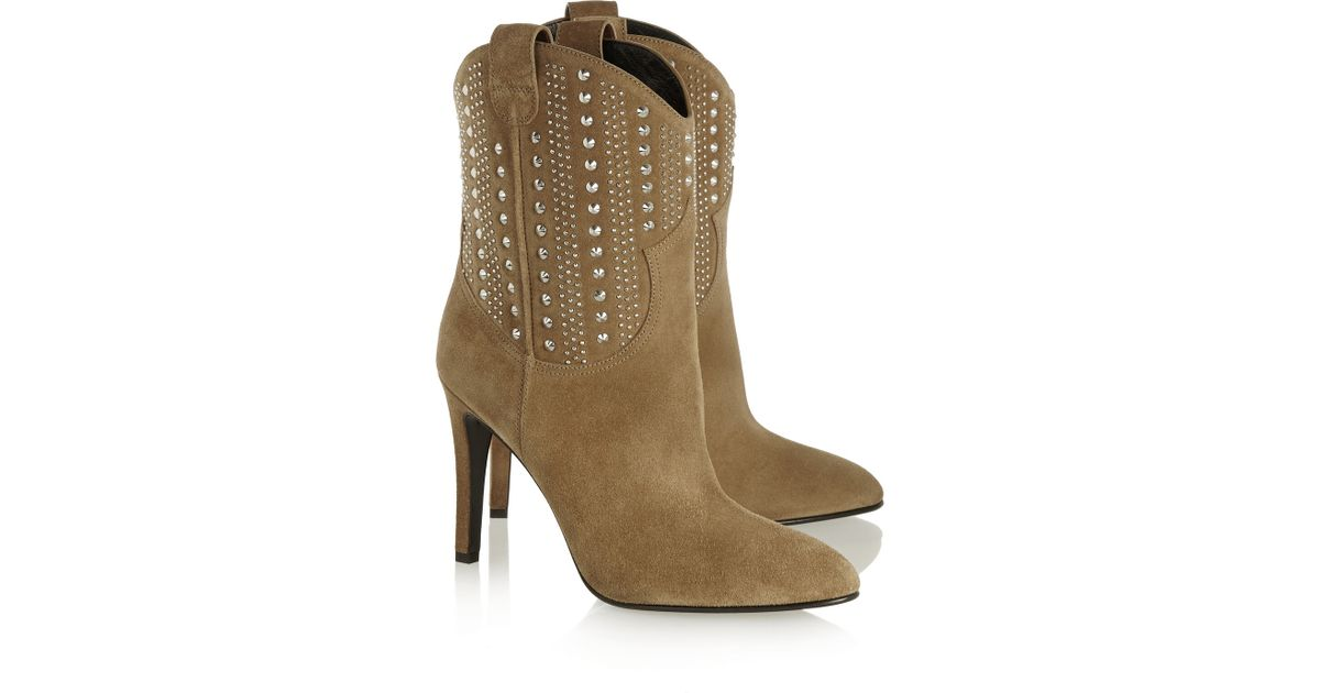 69ed7915f14 Saint Laurent Debbie Studded Suede Ankle Boots in Brown - Lyst