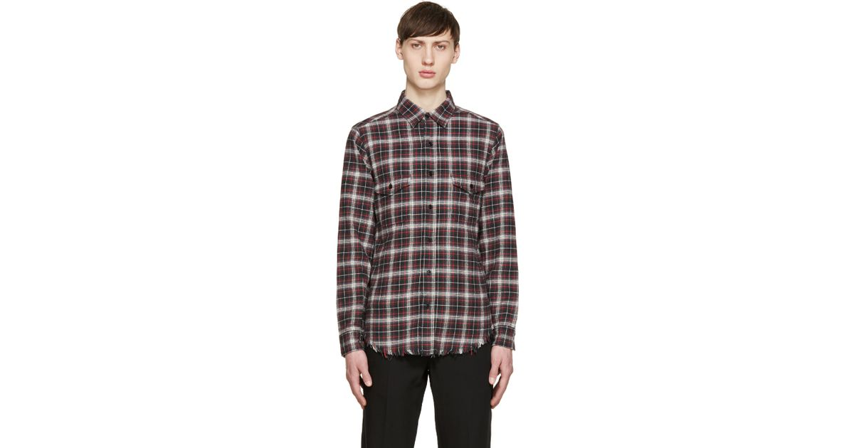 Saint laurent red green flannel check shirt in green for for Red and green checked shirt