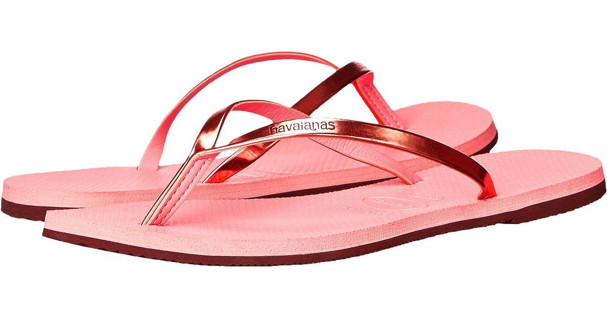 71283496b73b Lyst - Havaianas You Metallic Flip Flops in Pink