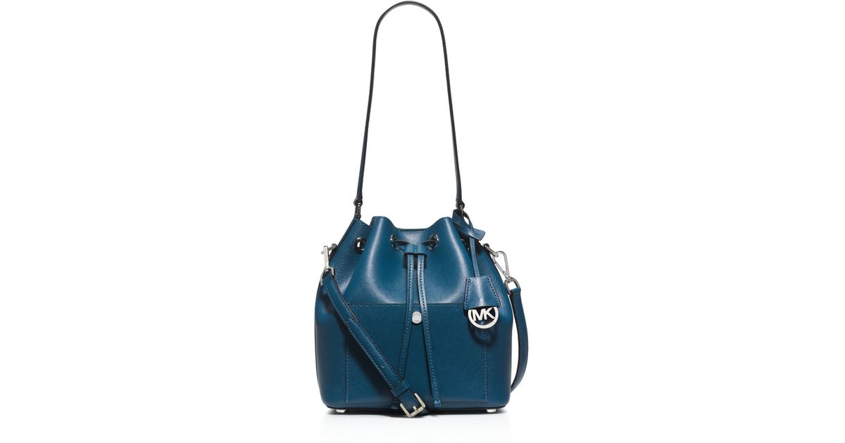 michael michael kors greenwich medium bucket bag in blue lyst. Black Bedroom Furniture Sets. Home Design Ideas