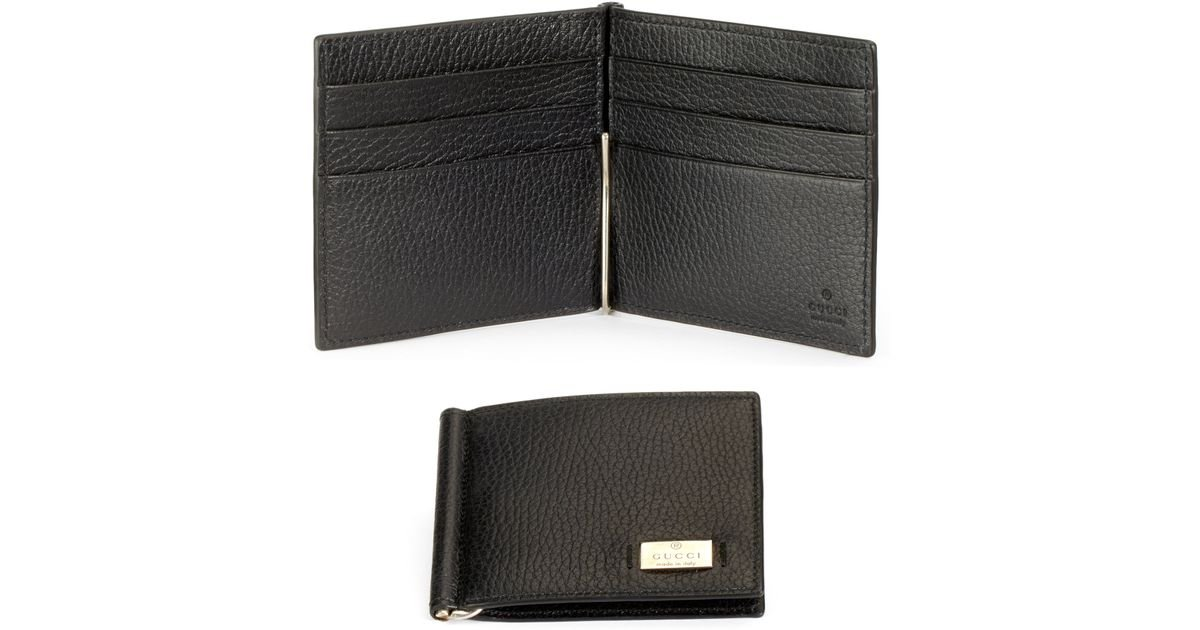 bd7206206fce9 Lyst - Gucci Leather Money Clip Wallet in Black for Men