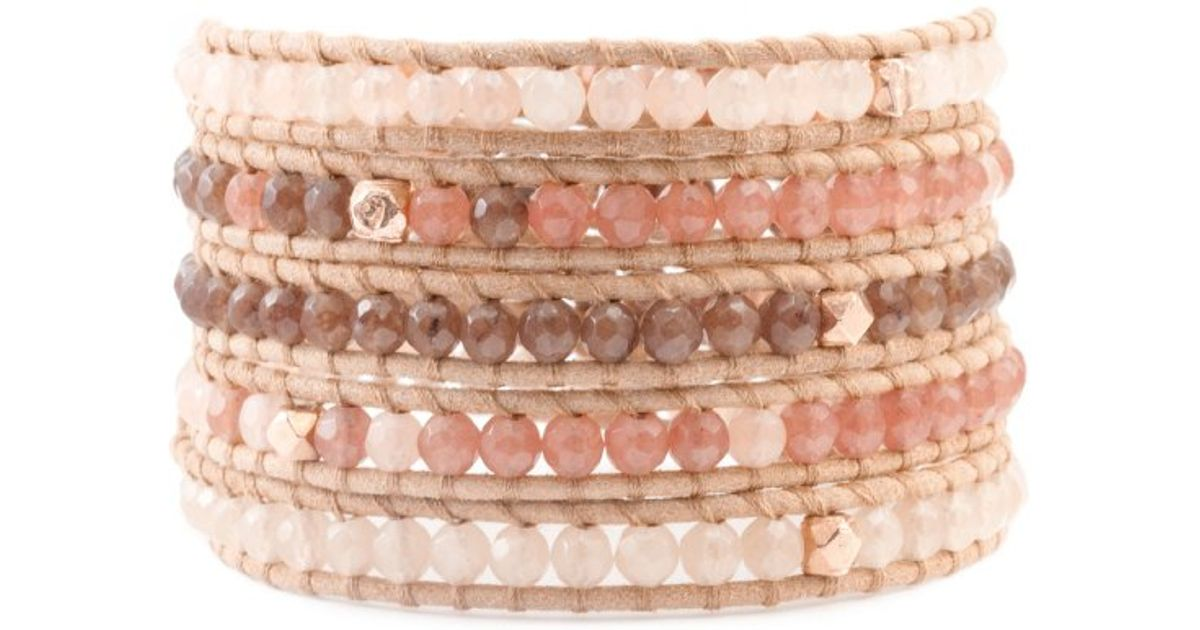 Lyst Chan Luu Pink Mix Wrap Bracelet With Rose Gold On Beige Leather In Metallic