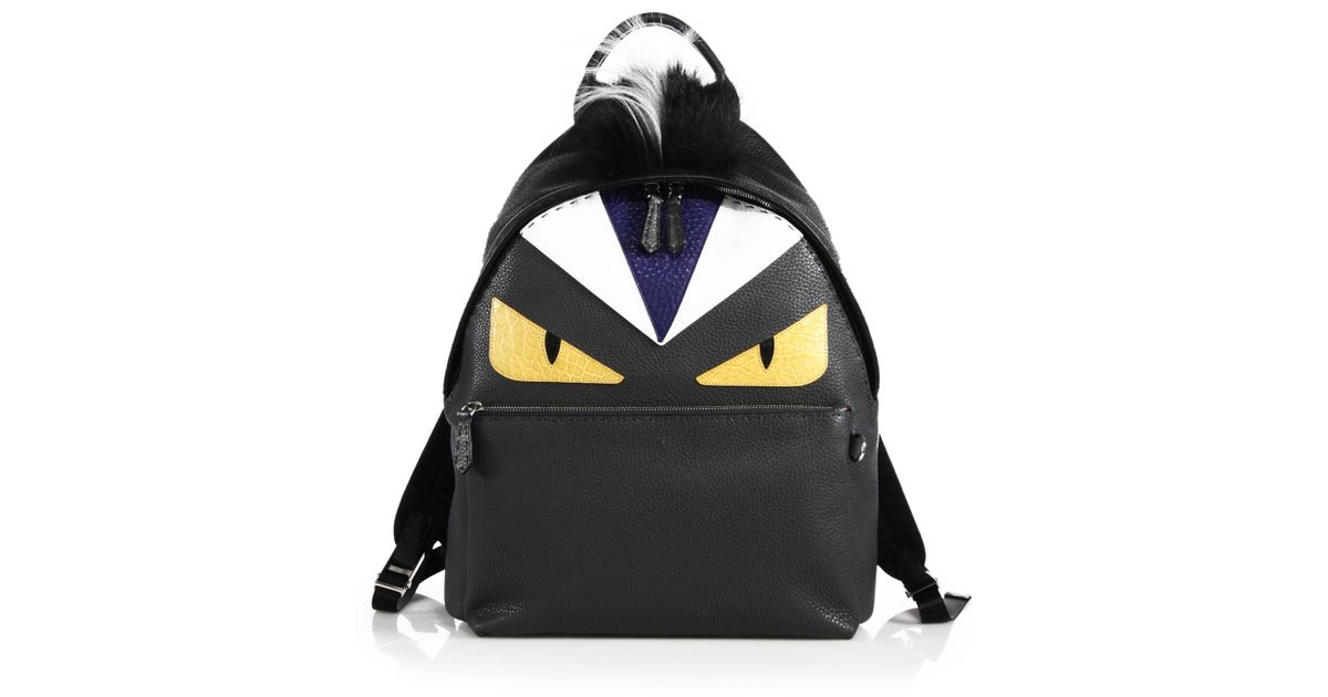 Lyst - Fendi Monster Fur-trimmed Leather Backpack in Black 3381b839a000e