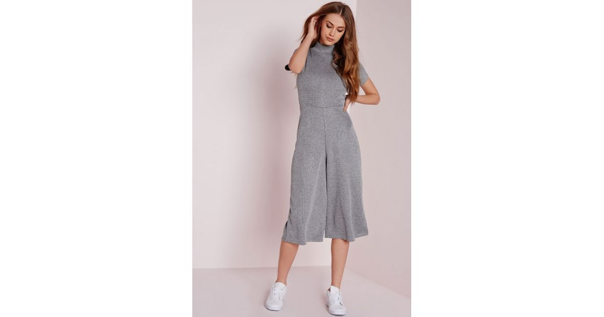 72eb3239143 Lyst - Missguided High Neck T-shirt Culotte Jumpsuit Grey in Gray