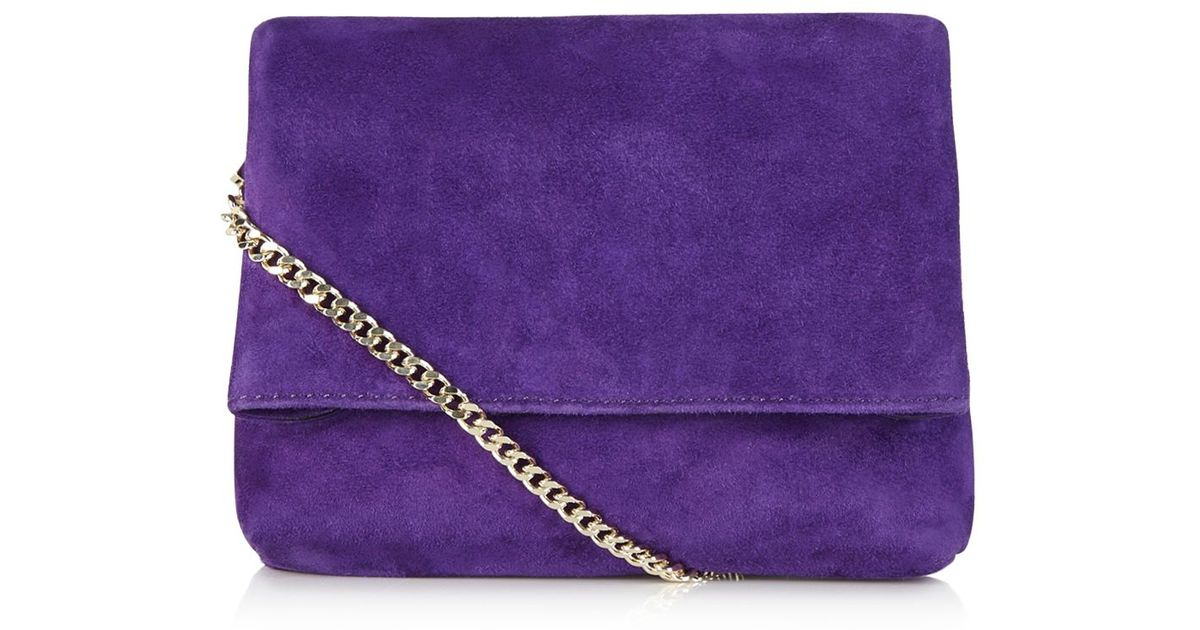 1ac39378fb8 Karen Millen Brompton Suede Shoulder Bag in Purple - Lyst