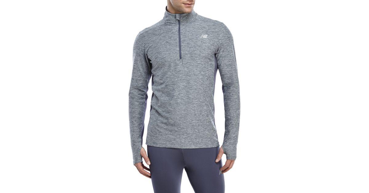 new balance quarter zip. new balance lightweight tech quarter-zip pullover in gray for men | lyst quarter zip h