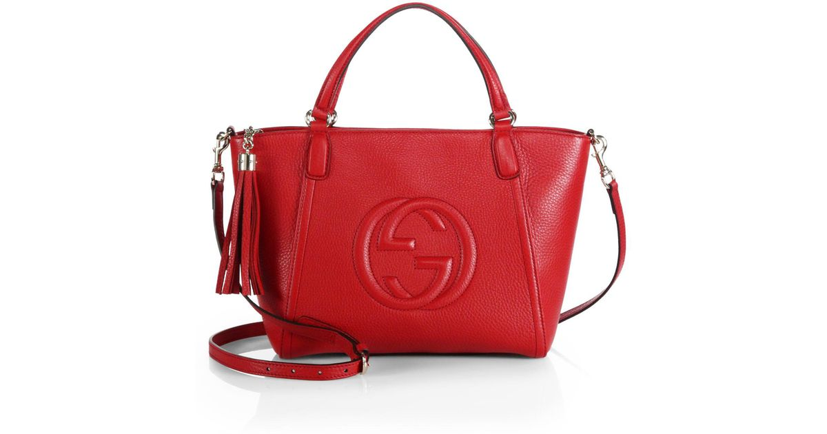 db00b96f888a Gucci Soho Small Leather Top Handle Bag in Red - Lyst