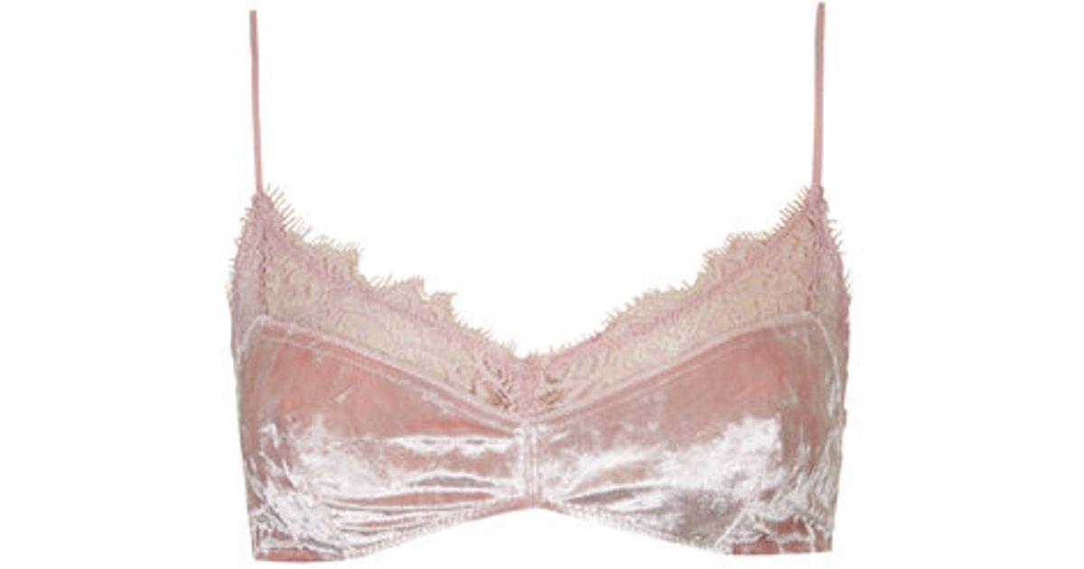 8d426a5fd6 Lyst - TOPSHOP Velvet Soft Bra in Pink