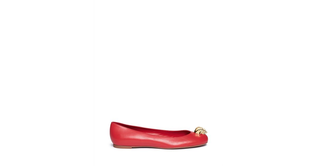Alexander McQueen Skull Leather Flats cheap sale with paypal 0kILzgL
