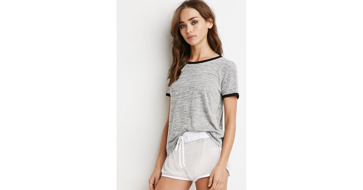 Clothes Ringer 2015 ~ Lyst forever marled knit ringer tee in gray