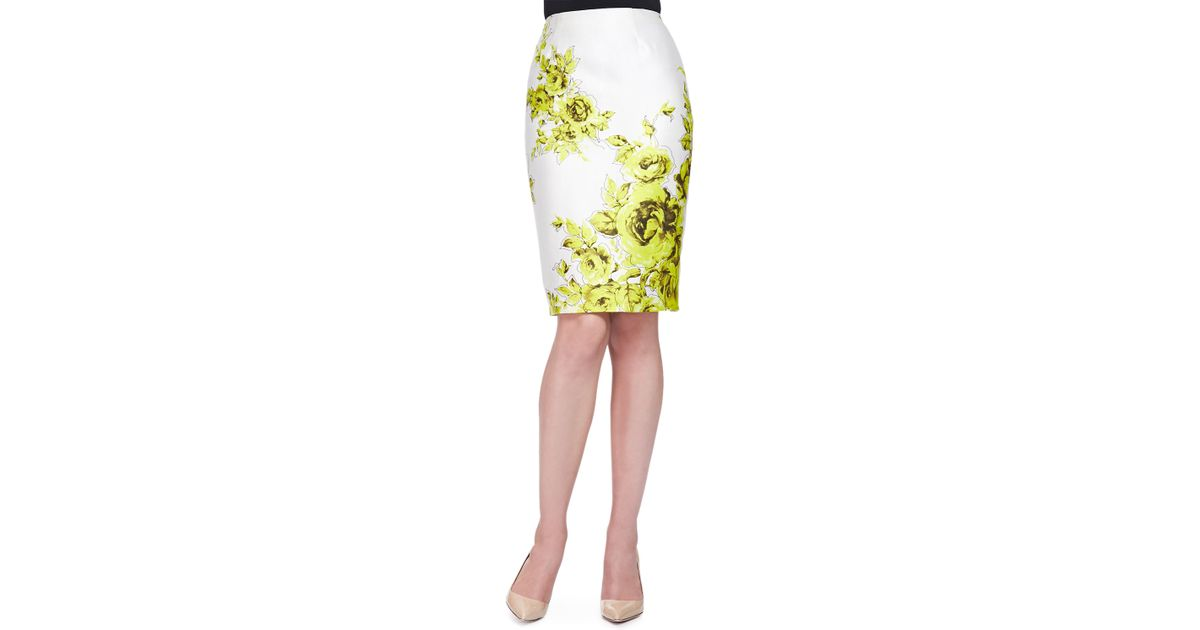 floral print sateen pencil skirt in yellow lyst