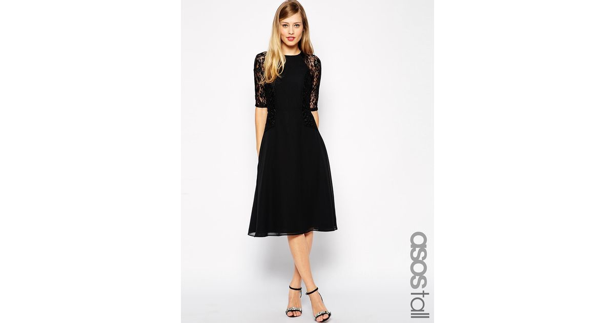 002592a88644 ASOS Midi Skater Dress With Lace Panels in Black - Lyst