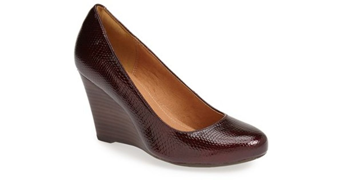 Clarks Burgundy Wedge Shoes