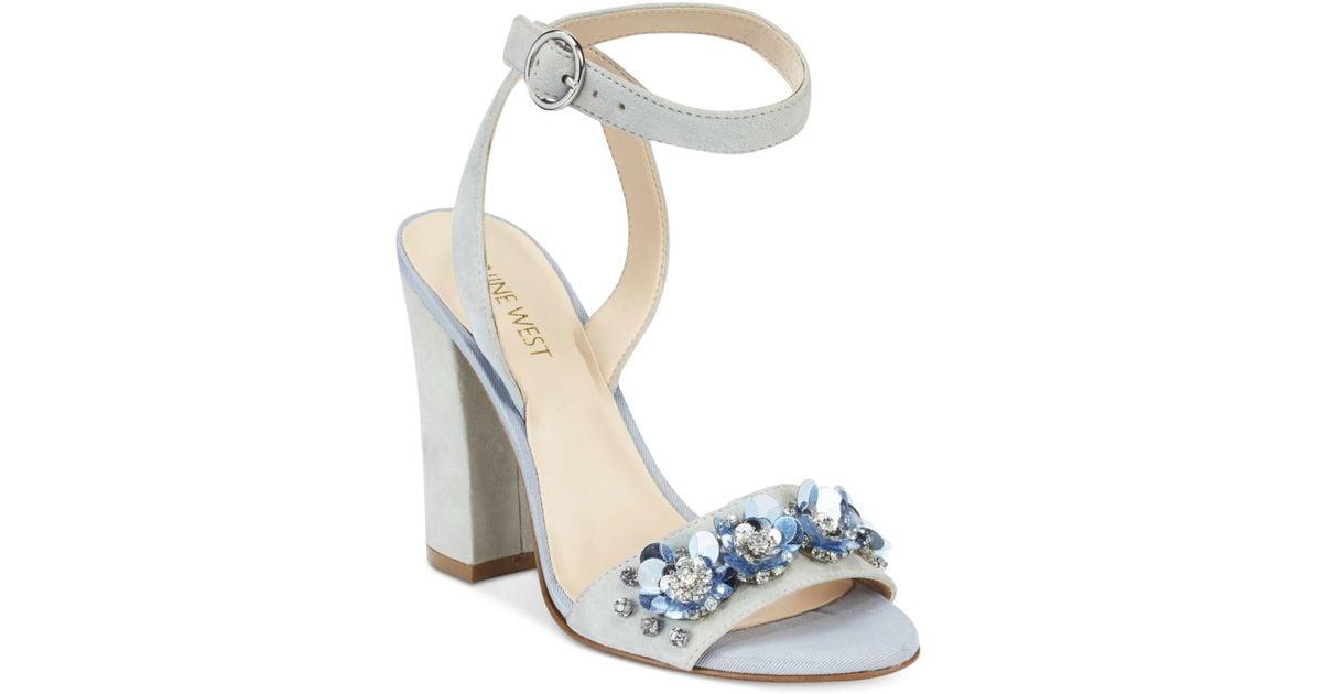 Nine West Balada Embellished Ankle Strap Sandals In White