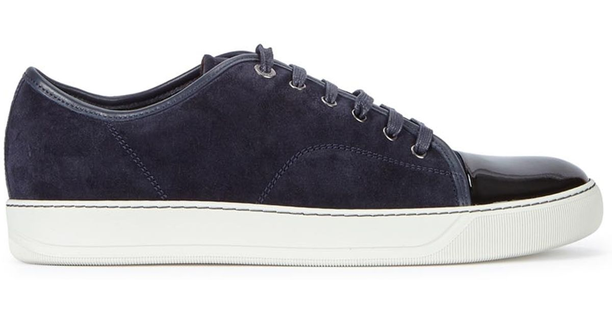 76e68b156679 Lanvin Navy Suede Trainers in Blue for Men - Lyst