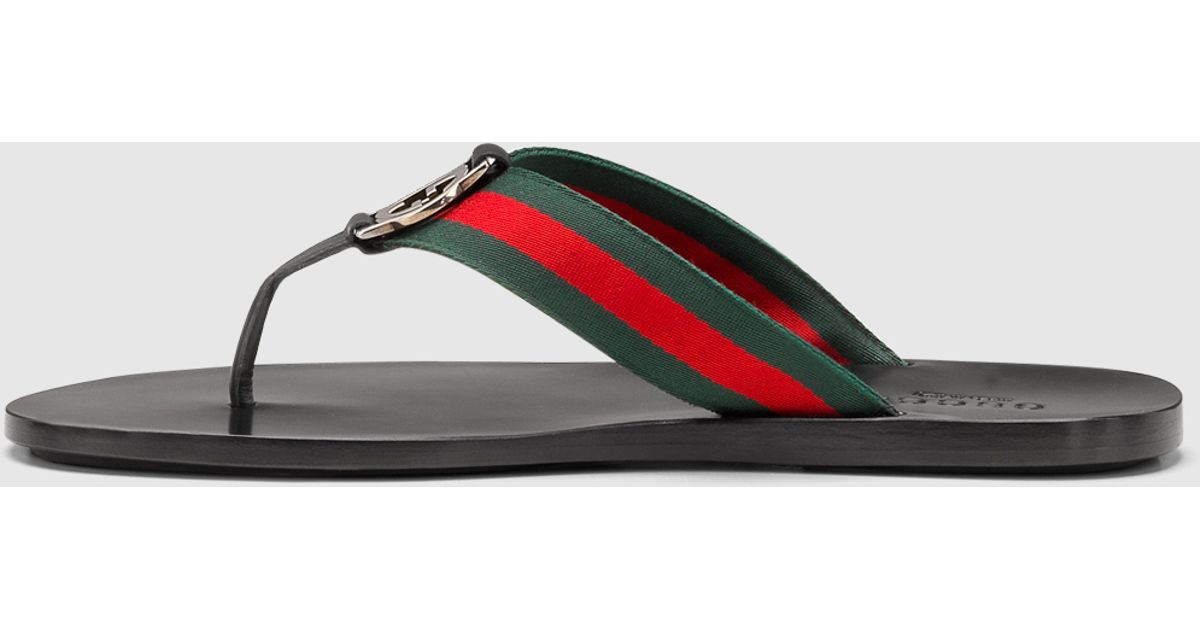 85b3c708bd0887 Lyst - Gucci Signature Web Thong Sandal in Red for Men