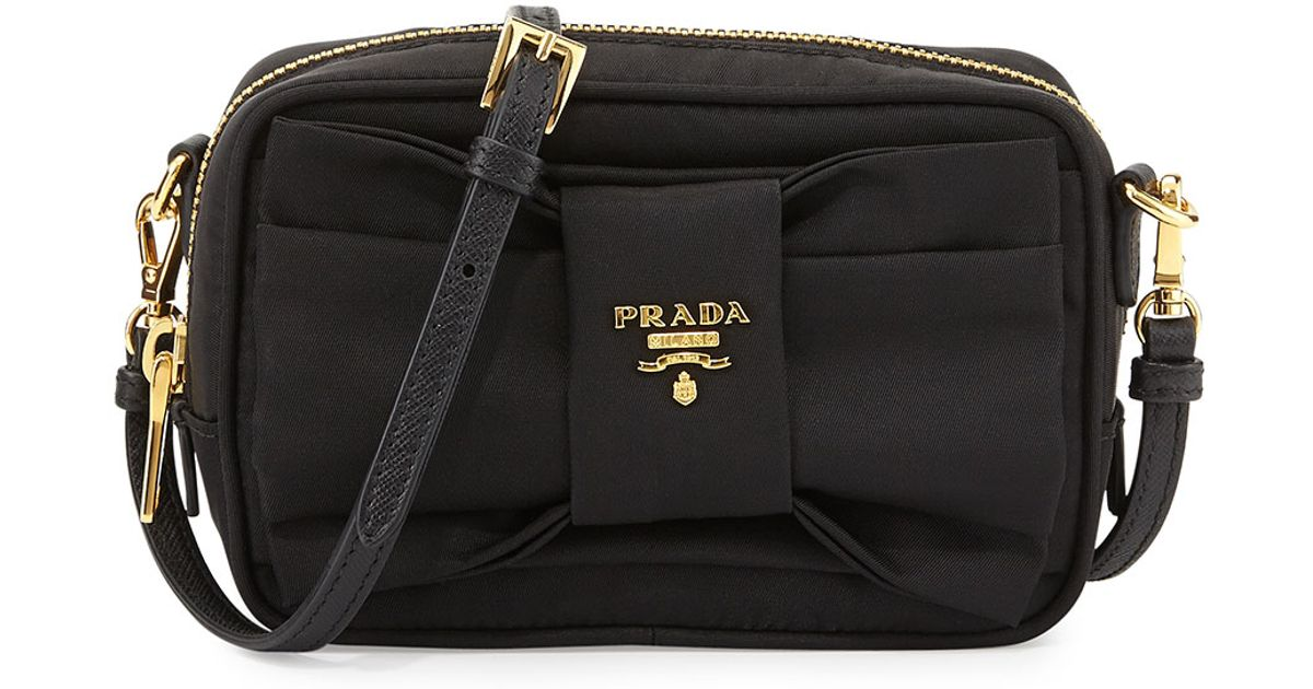 3c1f31b37639 buy lyst prada tessuto small bow crossbody bag in black 4a860 f67ef