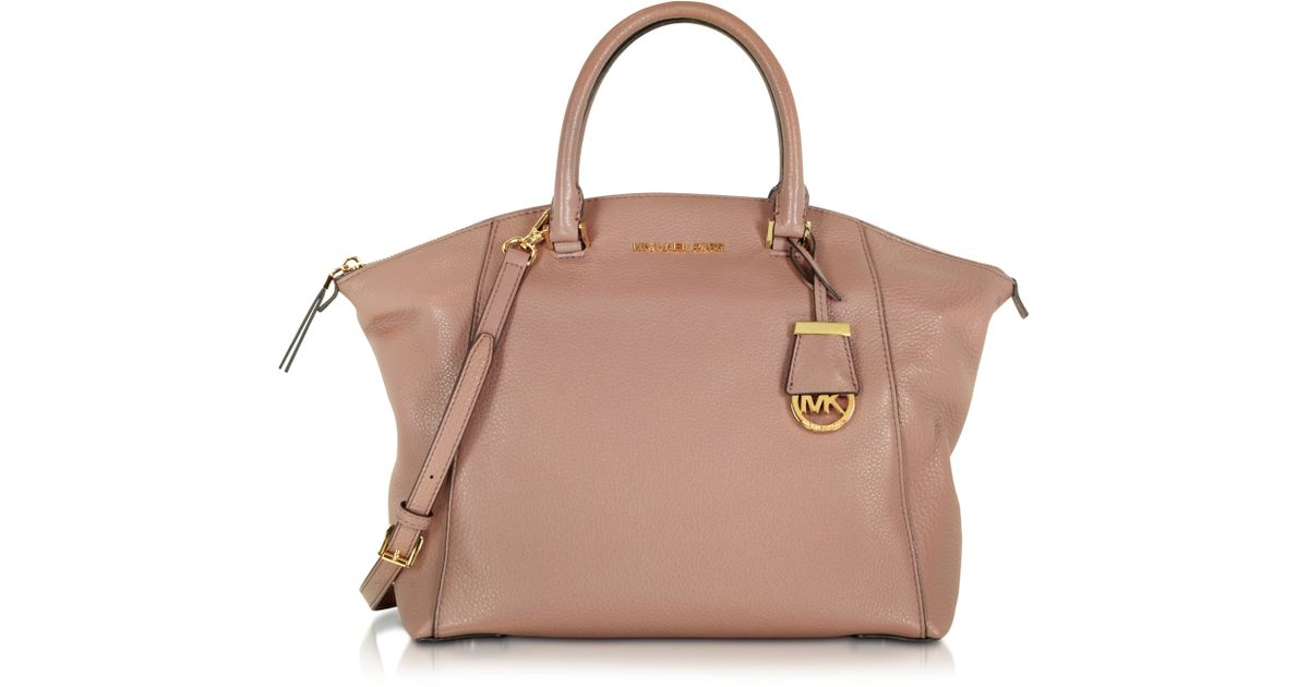 michael kors dusty rose riley large pebbled leather satchel in brown lyst. Black Bedroom Furniture Sets. Home Design Ideas