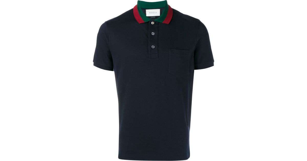 452331db Gucci Striped Collar Polo T-shirt in Blue for Men - Lyst