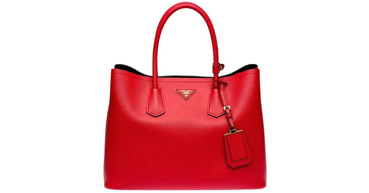 da0df956745f Lyst - Prada Lady In Red Saffiano Leather Tote in Red