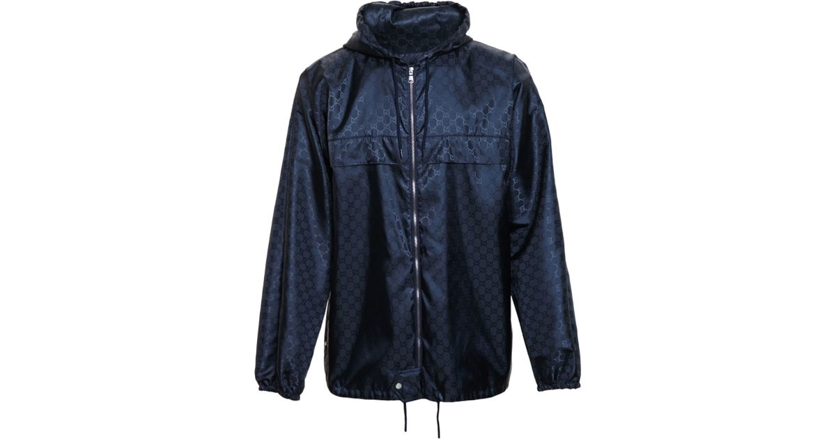 d0e1a160f Gucci Monogrammed Windbreaker in Blue for Men - Lyst