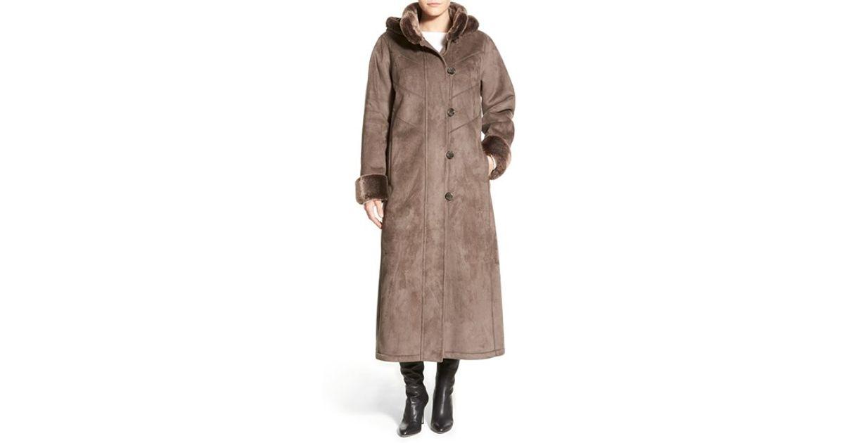 Gallery Long Hooded Faux Shearling Coat in Gray (SMOKE) | Lyst