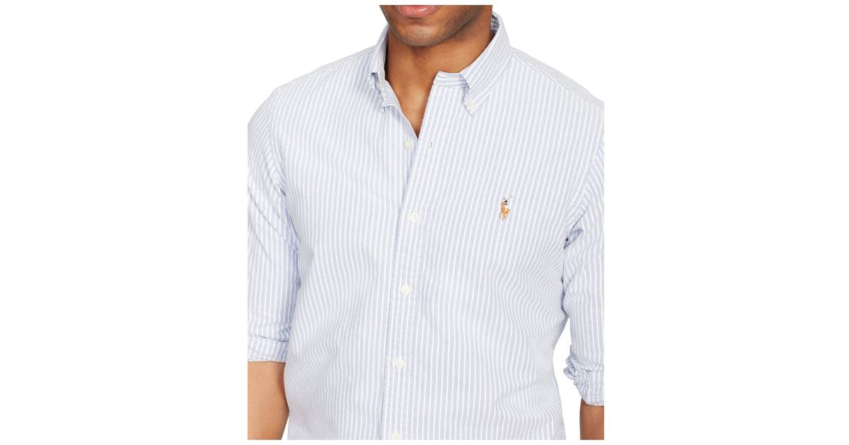 26f3a85133ac Polo Ralph Lauren Slim-fit Striped Stretch-oxford Shirt in Blue for Men -  Lyst